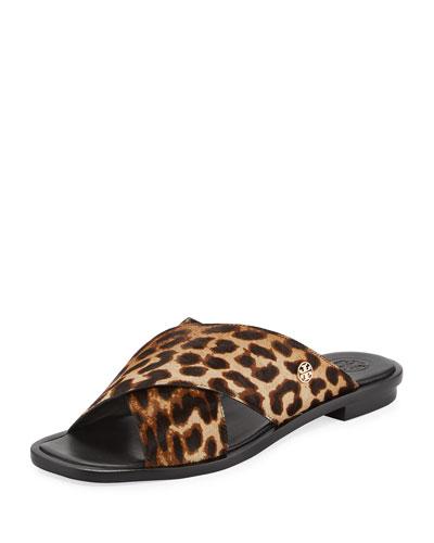 Gemma Leopard Crisscross Slide Flat Sandal