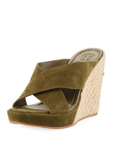 Bailey Suede Platform Wedge Mule Sandal