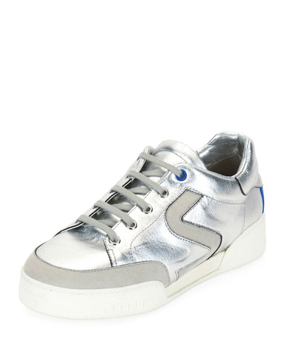 Metallic Lace-Up Low-Top Sneaker, Silver