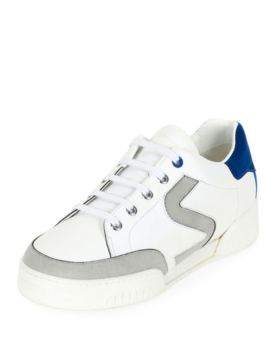 S-Side Lace-Up Low-Top Sneaker, White/Gray, White/Pearl Gray