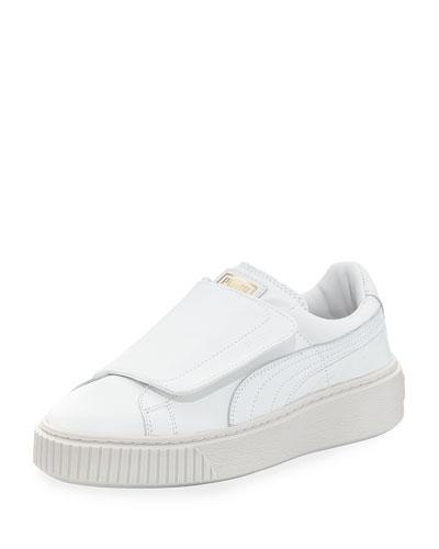 Basket Wide-Strap Platform Sneaker, White