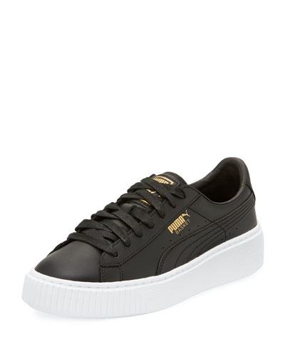 Basket Leather Platform Sneaker, Black