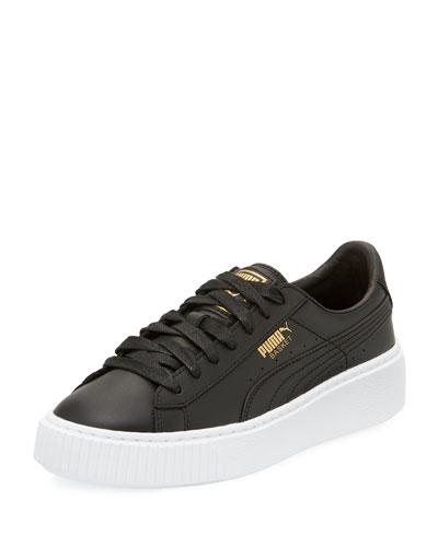 Basket Leather Platform Sneaker, Black