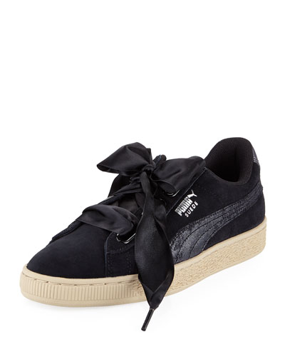 Basket Heart Safari Suede Sneaker, Black