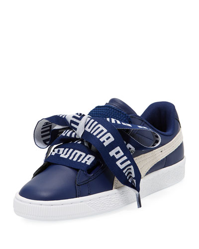 Puma Women S Basket Heart De Casual Sneakers From Finish Line In Blue Depths  White a167881ab