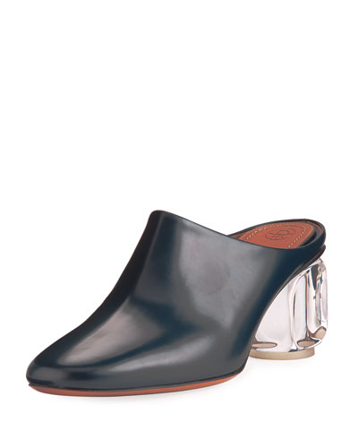 Adela Mule with Glass Heel, Navy