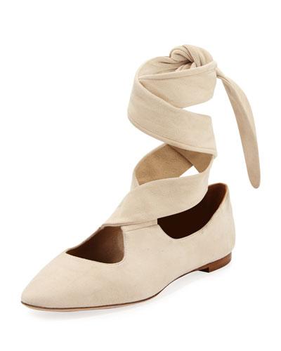Elodie Lace-Up Ballet Flats, Neutral