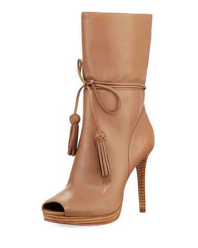Rosalie Ankle-Wrap Open-Toe Bootie, Dark Khaki