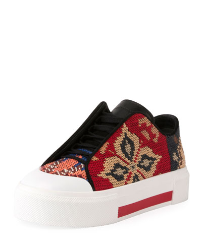 Needlepoint Platform Low-Top Sneaker