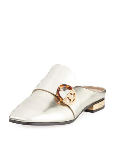 Sidney Smooth Metallic Leather Slide Loafer