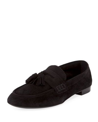 Transmoor Tassel Suede Loafer, Black