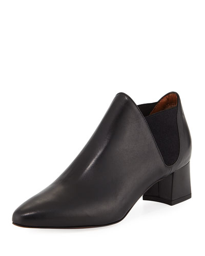 Poppy Leather Ankle Boot, Black