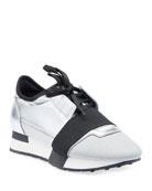Balenciaga Matelasse Metallic Sneakers, Argent