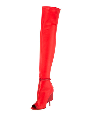 Screw-Heel 110mm Over-The-Knee Boot, Red