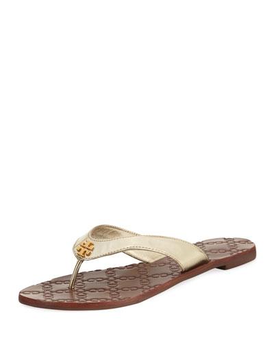 Monroe Metallic Flat Thong Sandal, Gold