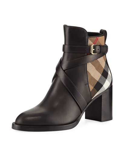 Vaughan Leather & Check 70mm Block-Heel Booties