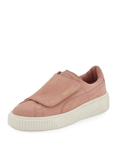 Suede Grip-Strap Platform Sneaker, Blush