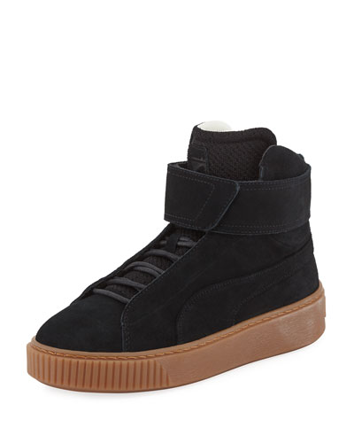 Suede Platform High-Top Sneaker, Black