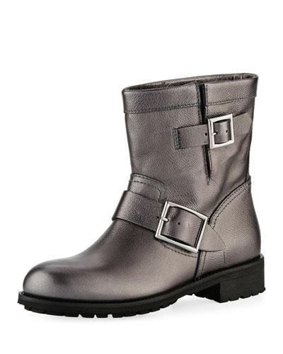 Flat Youth Metallic Leather Moto Boot