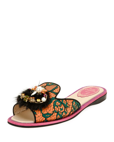 Mink-Trim Flat Lace Slide Sandals, Multi