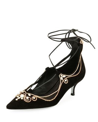 Suede Embellished Lace-Up Pumps, Black