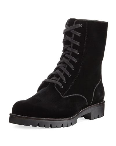 Velvet Embellished Combat Boot