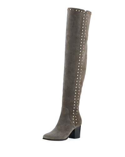 Harlem Suede Studded Over-the-Knee Boot