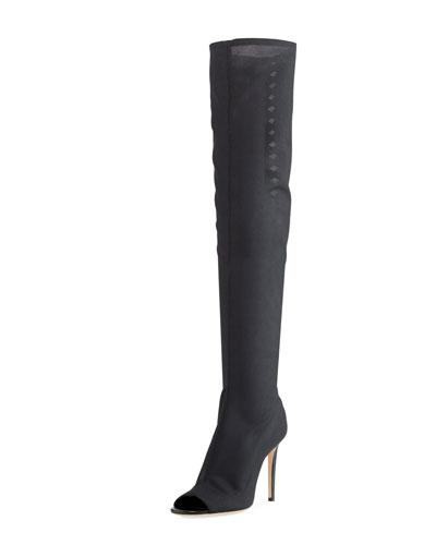Desai Peep-Toe Mesh Knee Boot