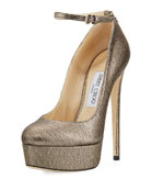 Klerise Metallic 150mm Platform Ankle-Wrap Pump