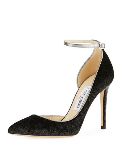 Lucy Metallic Velvet Ankle-Wrap Pump
