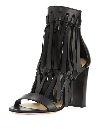 Malia Leather Fringe Block-Heel Sandal