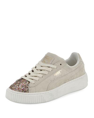 Suede Glittered Platform Sneaker, Cream