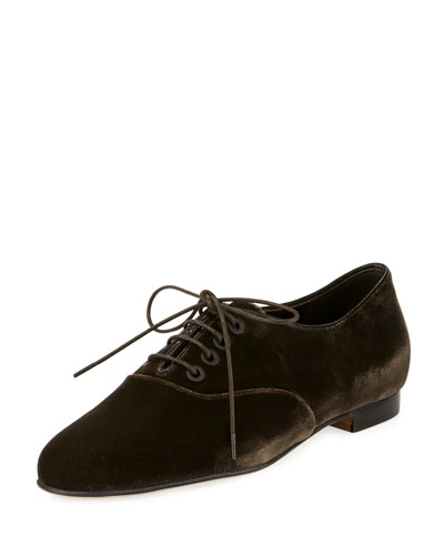 Pruneta Velvet Lace-Up Oxford