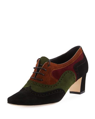 Magnesia Colorblock Suede Oxford Pump