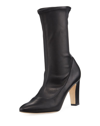 Todi Fitted Leather Ankle Boot, Black