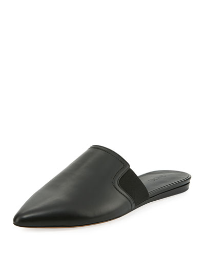 Nadette Pointed-Toe Flat Slide, Black