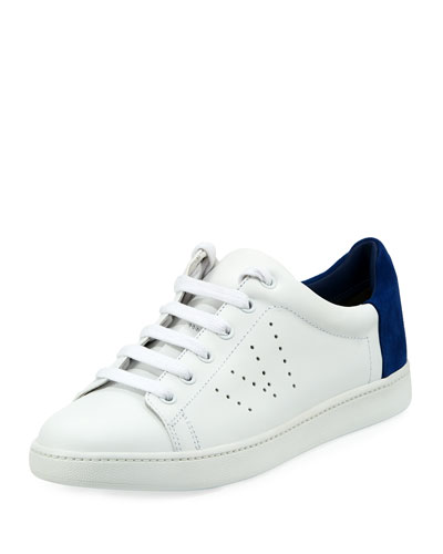 Varin Two-Tone Leather Sneaker, Plaster/Cobalt