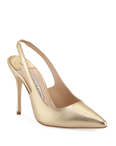 Allura Metallic Leather Slingback Pump, Gold