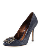 Hangisi Crystal-Buckle Embossed 105mm Pump