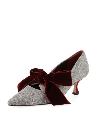 Serba Velvet Bow Tweed Pump