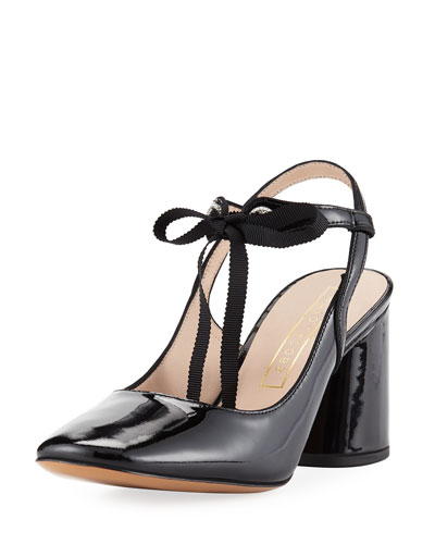 Bobbi Patent Tie Pump, Black