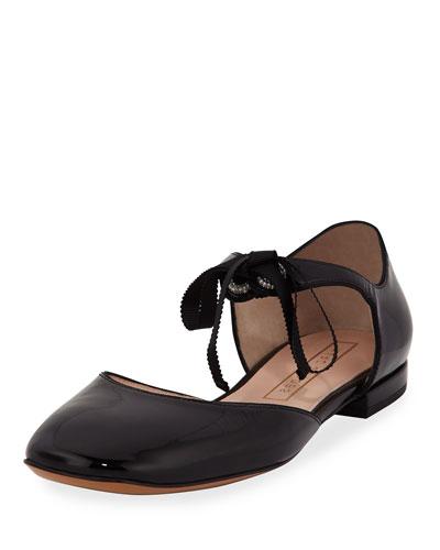 Alyssa Patent Tie Flat, Black