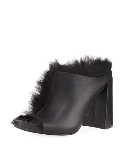 Yeruti Chunky-Heel Fur Slide Sandal