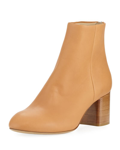 Drea Napa Leather Mid-Heel Ankle Boot