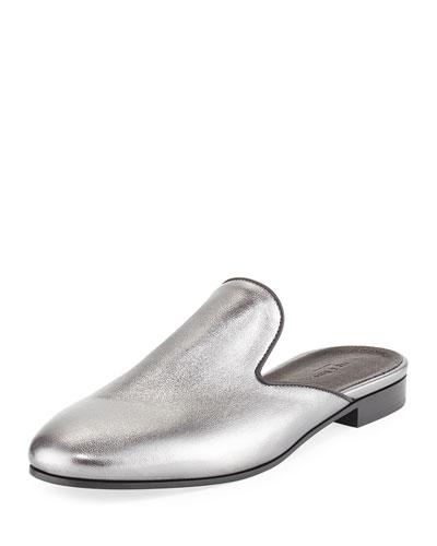Savoy Metallic Flat Mule, Gunmetal