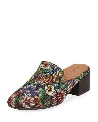 Eida Floral Fabric Block-Heel Mule