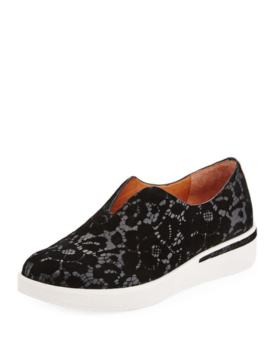 Hanna Flocked Leather Slip-on Sneaker, Black