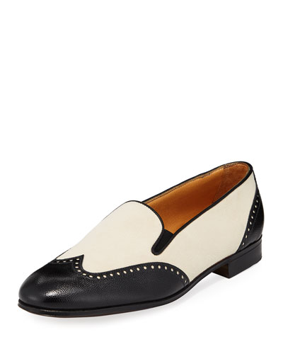 Bicolor Mixed Leather Wing-Tip Flat