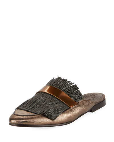 Metallic Leather Monili Mule Loafer, Pewter