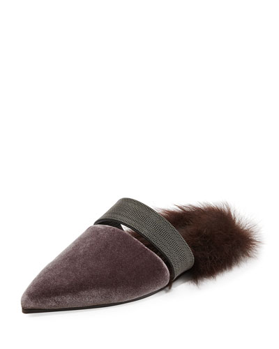Fur-Lined Velvet Mule with Monili Strap